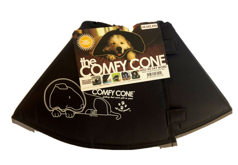 The Original Comfy Cone Soft Pet Recovery Collar~ Size Med/Black/ NEW With Tags