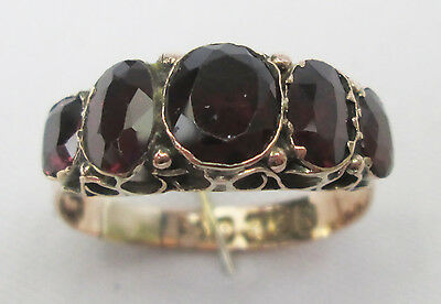ANTIQUE GEORGIAN 9CT GOLD FOILED BACK BEZEL NATURAL GARNET RING SIZE O 1831