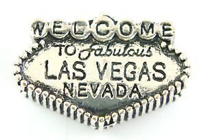 Silver Las Vegas Welcome Sign Charms Bead For Charm Bracelets