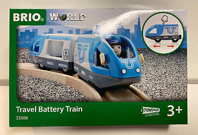 Brio World Wooden Railway Travel Battery Train #33506, New Brio Wooden Railway