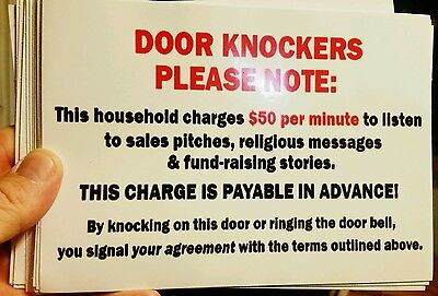 Door Knockers Please Note  Sign Hilarious 5 X7  Decal  As Seen On Facebook