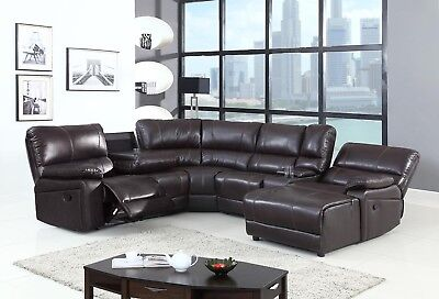 Brown Leather Chaise - 6 Pcs Dark Brown standard Leather Air Motion Sectional with pushback chaise