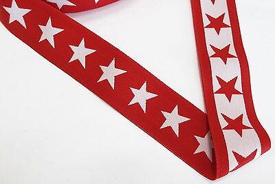 Gummiband 2,19 Euro/m Breite 4cm rot weiß straffe Qualität Stern Star 4mm Sterne - Rot Weiß Gummi