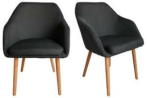 Calvin Charcoal Fabric Dining Chair Set 2 Kingswood Penrith Area Preview