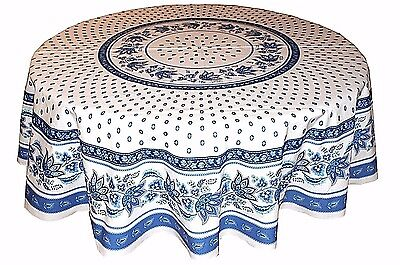 """LE CLUNY, LISA Ivory & BLUE, FRENCH PROVENCE COATED COTTON TABLECLOTH, 70"""" ROUND"""