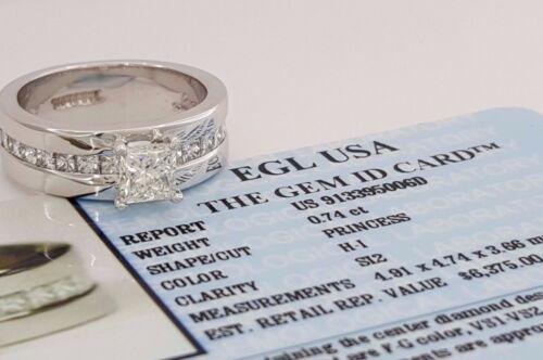 1.54 Ct Bergio 18k Gold Princess Cut Diamond Engagement Ring Egl Usa Rtl $6,375