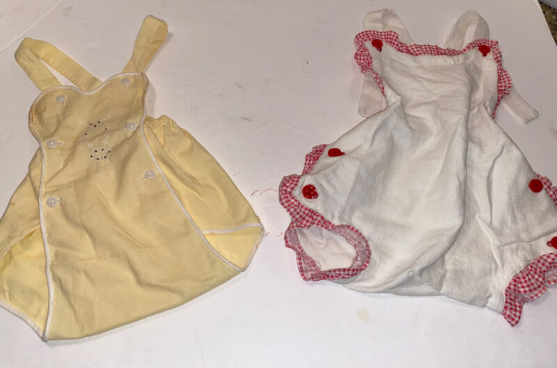 Lot Of 2 Vintage Baby Toddler Embroidered Sunsuit Romper Cute!