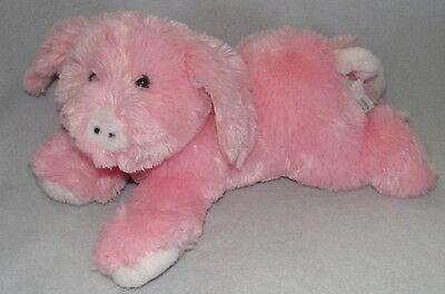 Boyds Bears & Friends Plush Fluffy Pink Pig Soft Floppy Stuffed Toy Laying Down Boyds Soft Bear