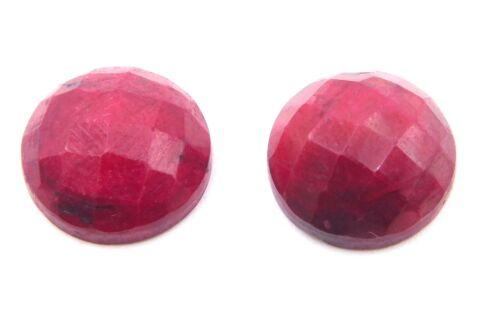 12 MM Round 2 Pc Natural Ruby Corundum Rose Cut Loose Gemstone For Jewelry P1610