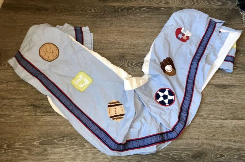 Pottery Barn Kids Blue Sports Football Basketball Baseball Soccer Crib Skirt
