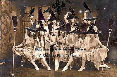 Vintage Halloween Witch Photograph Dancing Witches Brooms Antique LARGE print - Antique Halloween Photos