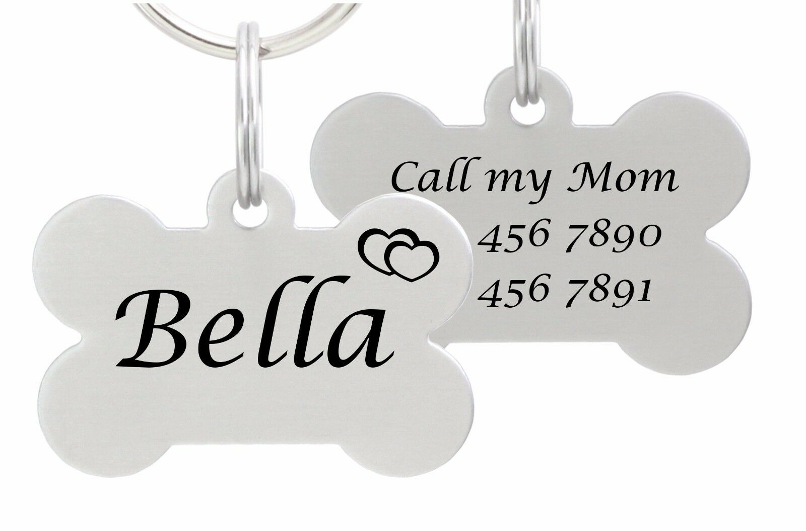 Double Sided Laser Etched Stainless Steel Pet ID Tag for Dog
