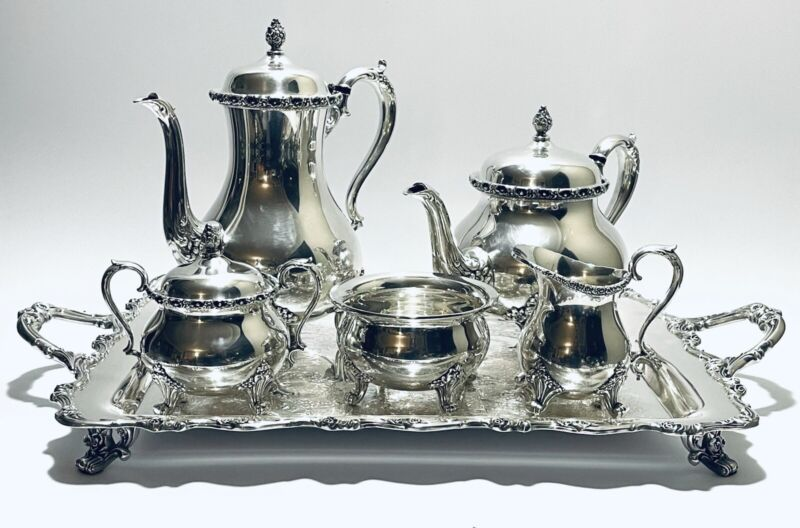 Stunning Antique Set of 6 Victorian American Rose Wilcox Tea Set Silver Plated