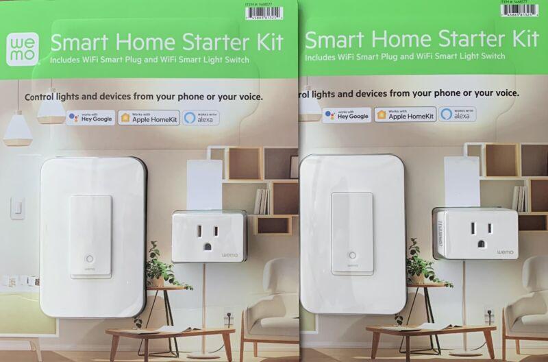 2 Pk Wemo Smart Home Starter Wifi Kit Switch & Smart Plug Works w/ Alexa, Google