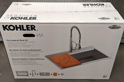 """NEW Kohler Pro-Inspired Kitchen Sink Kit w/ Cutting Board Single-Bowl 33"""" Width"""