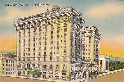 Salt Lake City Utah Hotel Utah Ca. 1940 Linen Postcard