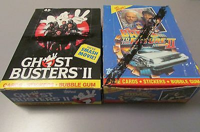1989 Topps Back to The Future II & Ghost Busters II Wax Box Lot RARE 72 Packs
