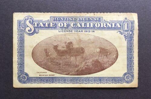Antique Vintage 1913-1914 California Hunting License - San Francisco Resident