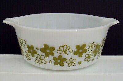 Pyrex Spring Blossom Round 1-1/2 Pt Casserole Baking Dish 472 White Green Flower