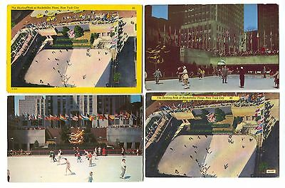 4 Vintage Rockefeller Plaza Ice Skating  Rink Skaters New York City Postcards