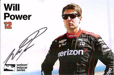 2017 WILL POWER signed INDIANAPOLIS 500 PHOTO HERO CARD POSTCARD INDY CAR ver 2