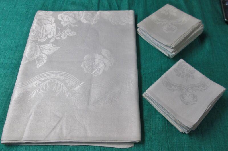 Antique Linen Damask Tablecloth & 12 Napkins Roses Ferns & Ribbons Hand Hemmed