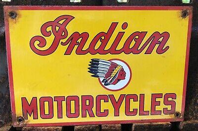 VINTAGE INDIAN MOTORCYCLES PORCELAIN ADVERTISING SIGN DEALER DEALERSHIP