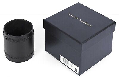 New Ralph Lauren Brogue Black Leather Pencil Cup 3 D X 4 H Nib