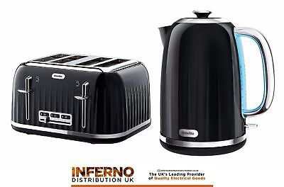 BREVILLE Impressions Kettle and 4 Slice Matching Toaster Set in High Gloss Black
