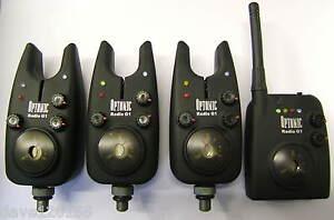 DAIWA SUNDRIDGE G1 RADIO OPTONIC BITE ALARMS SET OF 3 + & RECEIVER