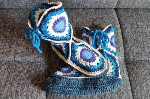 selbstgestrickte, gehäkelte Hausschuhe, Socken Gr. 40 /42