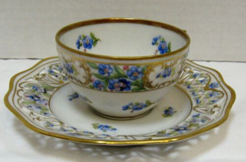 Schumann - Forget Me Not Demitasse Cup & Reticulated Saucer - Germany