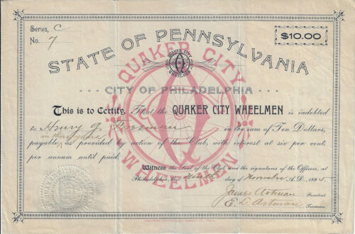 PENNSYLVANIA 1895 Quaker City Wheelmen Stock Certificate Early Cycling Club #7