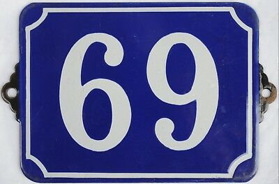 Large old French house number 69 door wall plate plaque enamel steel metal sign