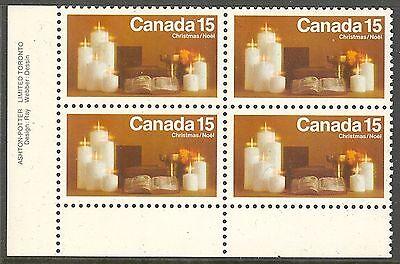 Canada #609, 1972 15c Christmas Candles, PB4 Unused NH