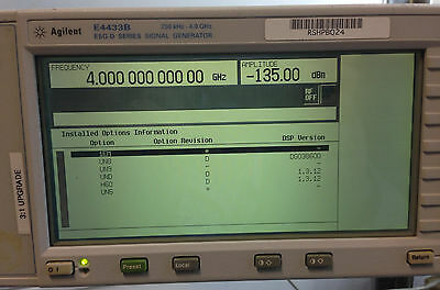Agilent Hp E4433a 250 Khz To 4 Ghz Digital Rf Signal Generator W Options