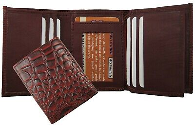 AG Wallets Mens Genuine Leather Croco skin Texture Trifold Cowboy Wallet Red