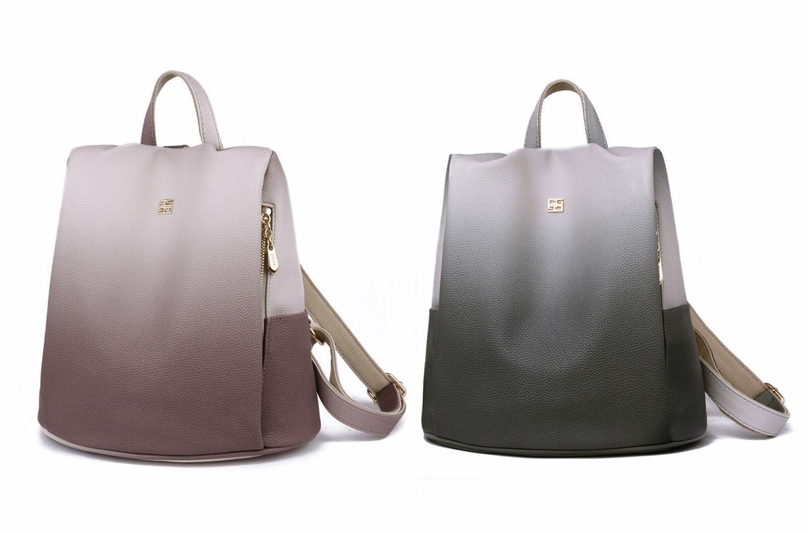 Damen Rucksack Tasche Anti Diebstahl PU Handtasche Farbverlauf Citybag Freizeit