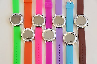 New Weida Silicone Led Digital Silver Tone   White Case Mirror Dial Watch Xl 812