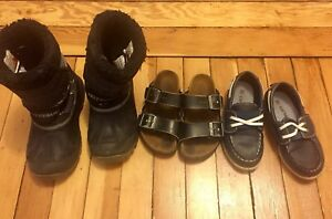 Boys birkenstocks, winter boots and carters shoes
