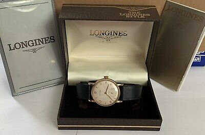 STUNNING GENTS LONGINES 9CT GOLD WATCH SERVICED RARE DIAL W/ BOX & PAPERWORK