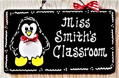 Personalize PENGUIN TEACHER Name SIGN Wall Door Plaque School Classroom Aide - Classroom Door Signs