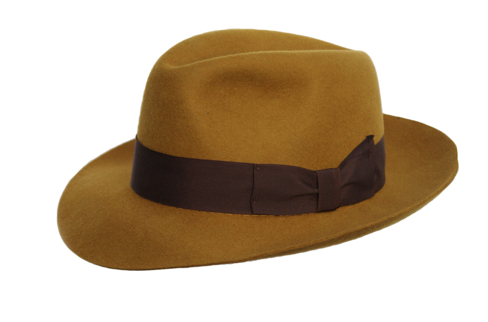 Gents 100/% Wool Hand Made Brown Manhattan Felt Fedora Trilby Hat With Wide Band