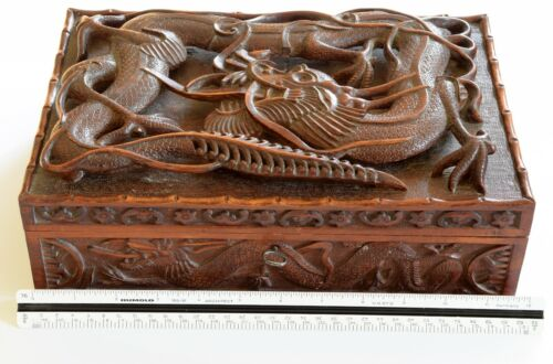 Carved Wooden Chinese Dragon Box With Key