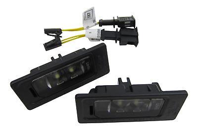 2x Original Skoda LED License Plate Light+Connection Adapter Cable Set #3AF