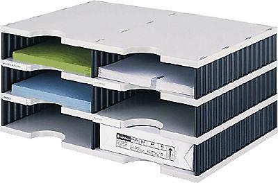 styro Sortierstation Duo mit 6 Fächern 268020398, grau/schwarz, 485x223x331mm