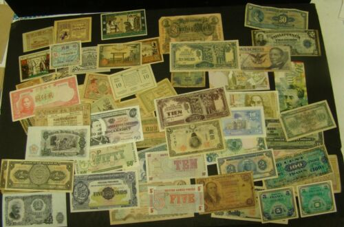 FOREIGN CURRENCY LOT of 58 Mixed World Paper Notes OVER $135 Catalog Value CHINA