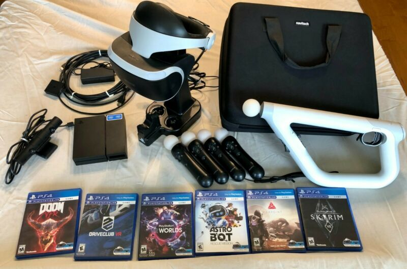 Sony Playstation VR PSVR CUH-ZVR1 BUNDLE Aim Controller, Stand, Case, and MORE!