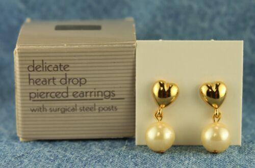 """1990 Avon """"Delicate Heart Drop"""" Heart w/ Dangle Faux Pearl Ball Pierced Earrings"""