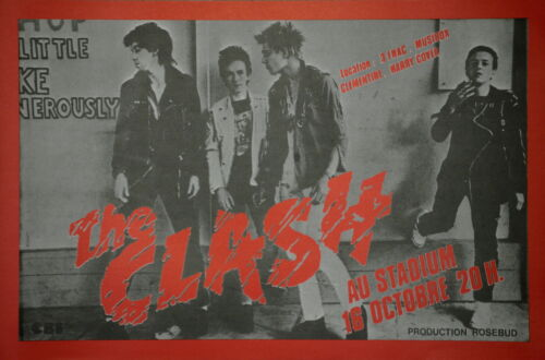 "The Clash ""Au Stadium"" Paris Vintage Original 1978 French Concert Promo Poster"
